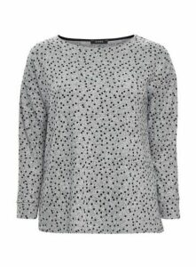 Grey Polka Dot Print Soft Touch Top, Grey