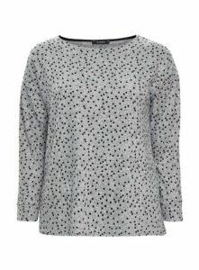 Grey Polka Dot Print Soft Touch Top, Grey