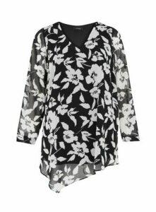 Black Floral Print V-Neck Asymmetric Top, Black/White