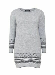 Grey Knitted Tunic Jumper, Grey