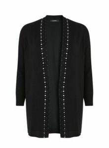 Black Embellished Trim Cardigan, Black