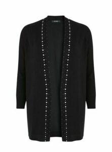 Black Embellished Trim Cardigan, Black