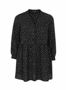 Black Polka Dot Frill Top, Black