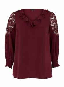 Wine Frill Neck Lace Sleeve Top, Wine