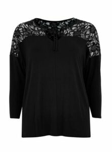 Black Tie Neck Top, Black