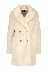 Womens Double Breasted Faux Fur Coat - beige - 10, Beige