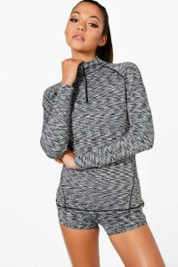 Womens Fit Spacedye Half Zip Gym Top - Grey - 12, Grey
