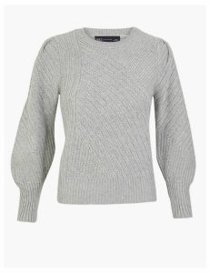 M&S Collection Ribbed Blouson Sleeve Jumper