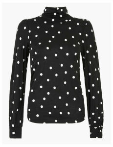 M&S Collection Polka Dot Turtle Neck Top