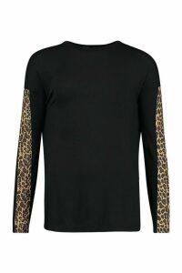 Womens Tall Leopard Print Trim T-Shirt - black - 8, Black