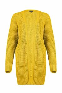 Womens Tall Chunky Fisherman Knit Cardigan - yellow - M/L, Yellow
