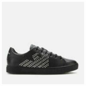 Emporio Armani Women's Marie Leather/Studs Cupsole Trainers - Black/Silver - EU 40/UK 7 - Black