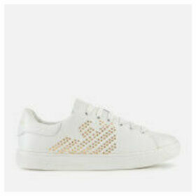 Emporio Armani Women's Marie Leather/Studs Cupsole Trainers - White/Gold