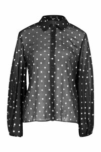 Womens Spot Balloon Sleeve Shirt - Black - 6, Black