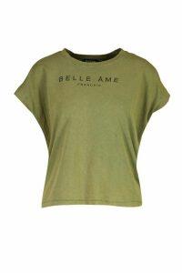 Womens French Slogan Acid Wash Cap Sleeve T-Shirt - green - 16, Green