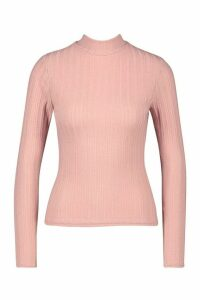 Womens Long Sleeved roll/polo neck Rib Top - pink - 10, Pink
