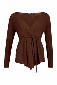 Womens Jumbo Rib Tie Waist Peplum Top - brown - 12, Brown
