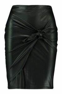 Womens Matte PU Tie Front Skirt - black - 10, Black