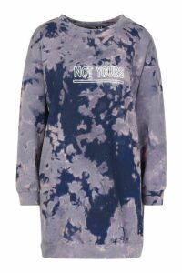 Womens Slogan Acid Wash Sweatshirt Dress - navy - 12, Navy
