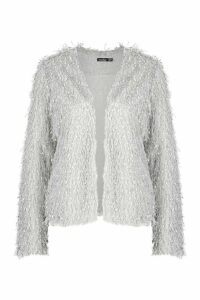 Womens Feather Knit Cardigan - grey - 8, Grey