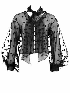 Womens Polka Dot Oversized Organza Blouse - Black - 16, Black