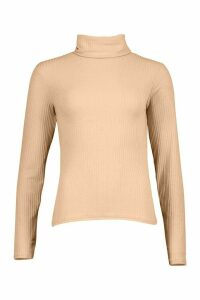 Womens Soft Rib Roll Neck Top - beige - 16, Beige