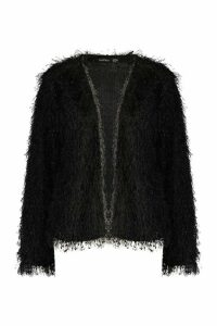 Womens Feather Knit Cardigan - black - 16, Black