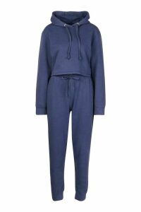 Womens Acid Wash Crop Hoodie Tracksuit - blue - 16, Blue