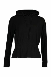 Womens Soft Shirred Waist Hoodie - black - 10, Black