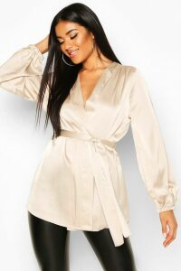 Womens Satin Wrap Front Blouse - Beige - 12, Beige