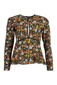 Womens Dark Floral Plunge Blouse - black - 12, Black