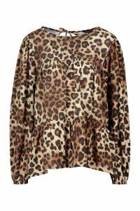 Womens Woven Leopard Ruffle Smock Top - beige - 14, Beige