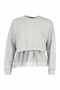 Womens 2 In 1 Mesh Sweat Top - Grey - S, Grey