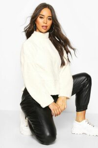 Womens Funnel Neck Top With Side Vents In Teddy Fleece - white - M, White