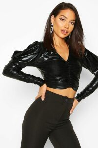 Womens Metallic Ruched Front Top With Dramatic Shoulders - black - 12, Black