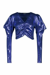 Womens Metallic Ruched Front Top With Dramatic Shoulders - blue - 14, Blue