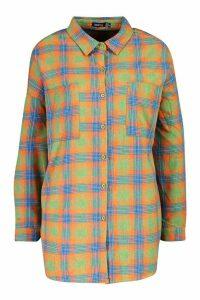Womens Extreme Oversized Check Shirt With Pockets - orange - 6, Orange