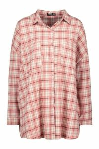 Womens Extreme Oversized Check Shirt With Pockets - Pink - 10, Pink