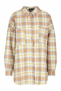Womens Extreme Oversized Check Shirt With Pockets - brown - 16, Brown