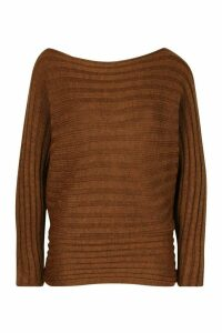Womens Batwing Tie Waist Rib Knit Jumper - brown - S/M, Brown
