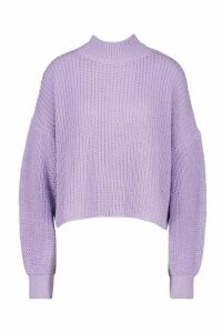 Womens Oversized Balloon Sleeve Crop Jumper - Purple - L, Purple