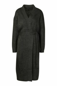 Womens Maxi Belted Cardigan - Black - M, Black