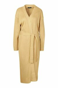 Womens Maxi Belted Cardigan - beige - M, Beige