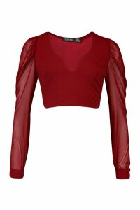 Womens Puff Shoulder Mesh Sleeve Sweetheart Neck Top - red - 12, Red