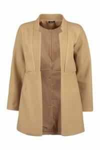 Womens Notch Neck Edge To Edge Wool Look Coat - beige - 12, Beige