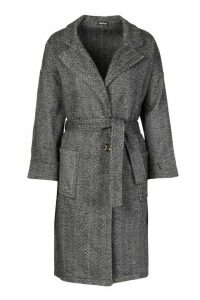Womens Herringbone Belted Wool Look Coat - Grey - 14, Grey