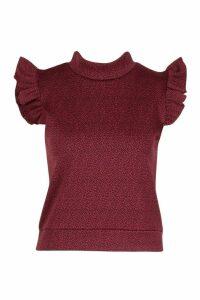 Womens Ruffle Sleeveless Textured Ribbed Top - purple - 8, Purple