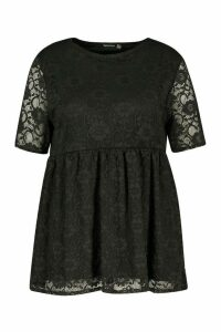 Womens Plus Lace Cap Sleeve Smock Top - black - 20, Black