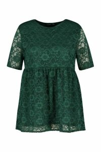 Womens Plus Lace Cap Sleeve Smock Top - Green - 18, Green