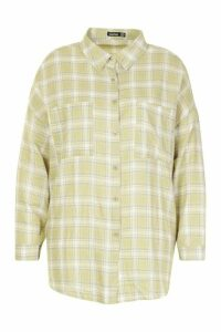 Womens Plus Check Oversized Shirt - green - 20, Green